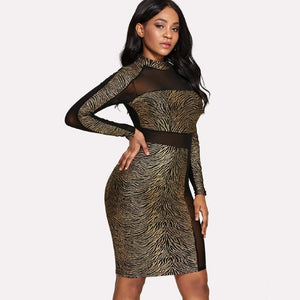 Tiger Print See Through Mesh Contrast Dress