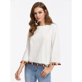 White Colorful Tassel Trim Slub Tee