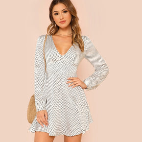 White Knot Back Fit & Flare Polka Dot Dress