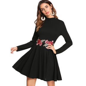 Black Embroidered Rose Applique Skater Dress