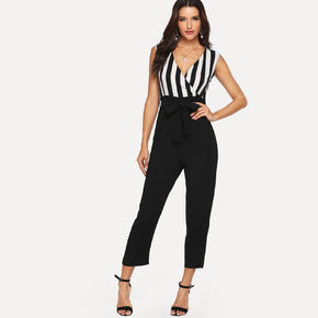 Black and White V-neck jumpsuit with stripes - madrushfashion.com