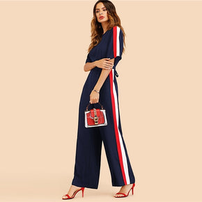 Navy Striped Tape Side Tie Back Jumpsuit