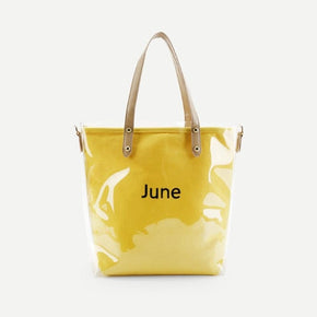 Transparent and Letter Print Tote Bag With Convertible Strap
