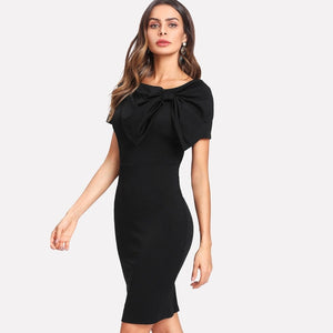 Black Exaggerate Bow Detail Zip Back Pencil Dress