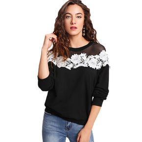 Black Mesh Yoke Lace Applique Pullover Top