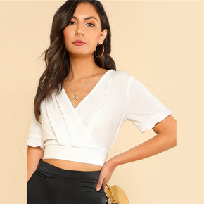 White Ruffle Cuff Pleated Crop Wrap Top