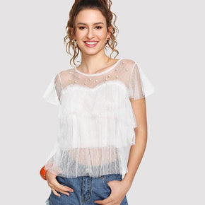 White Faux Pearl Beading Tiered Mesh Top