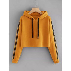 Orange Varsity Striped Sleeve Crop Hoodie