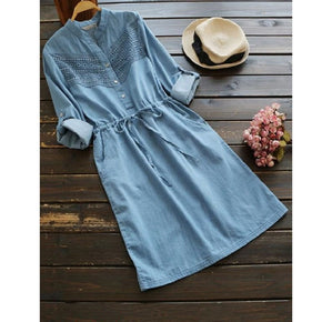 Blue Rolled Cuffed Lace Panel Drawstring Waist Dress