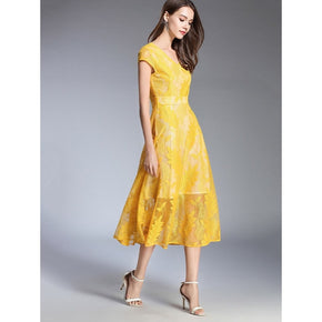 Yellow mesh leaf print dress for partywear online - madrushfashion.com