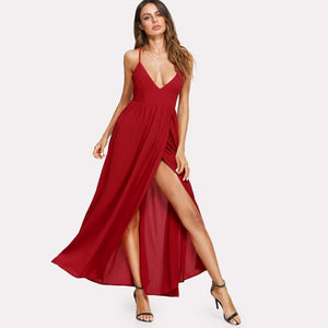 Red Front Overlap Plunging Cami Maxi Dress