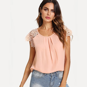Pink Floral Lace Raglan Sleeve Pleated Front Top