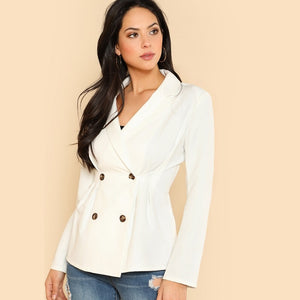 White Double Breasted Fold Pleat Detail Blazer