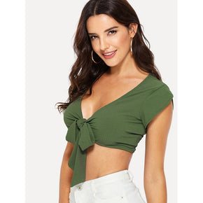 Green Deep V Neckline Knot Front Crop Top