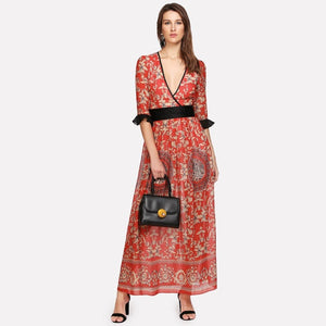 Multicolor Contrast Flounce Sleeve Floral Surplice Wrap Dress
