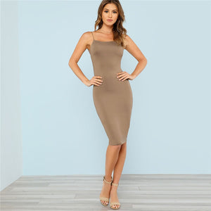Camel Brown Low Back Bodycon Cami Dress