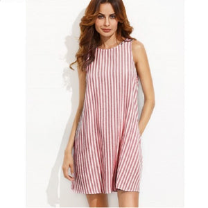 Red Stripe Button Keyhole Back Swing Dress