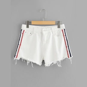 White Stripe Contrast Raw Hem Denim Shorts