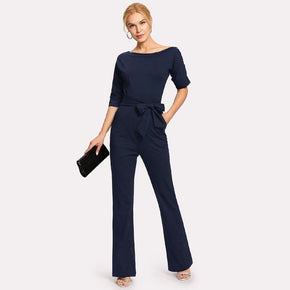 Navy Blue Oblique Neckline Button Jumpsuit With Belt