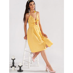 Yellow Single Breasted Front Knot Cami Dress