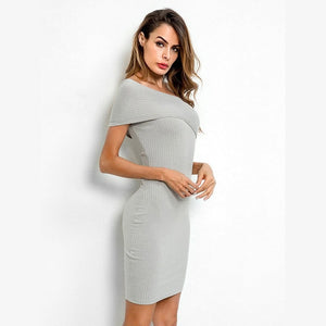 Women's oblique shoulder bodycon mini dress autumn winter sweater dress - madrushfahion.com