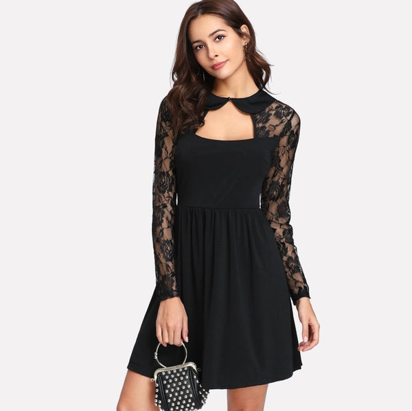 Black Contrast Lace Cut Out Front And Back Dress