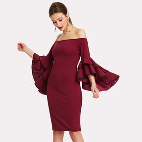 Burgundy Layered Trumpet Sleeve Bardot Dress