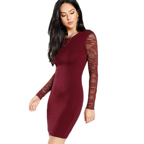 Burgundy Solid With Lace Full Sleeve Pencil Dress