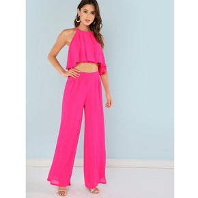 Rose Red Pleated Keyhole Back Top with Matching Palazzo Pants