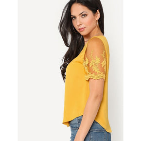 Ginger Flower Mesh Sleeve Curved Hem Blouse