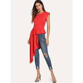 Red Asymmetrical Hem Keyhole Back Blouse