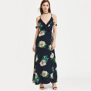 Multicolor Cold Shoulder Florals Tie Back Frill Dress