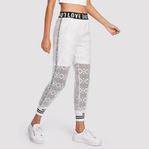 White with Letter Print Eyelet Lace Sweatpants