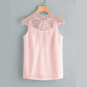 Pink Lace Yoke Bow Tie Open Back Top