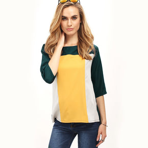 Multicolor Color Block Elbow Sleeve Top