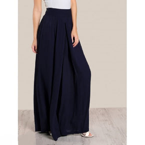 Navy Blue high rise super wide leg pants women online - madrushfahion.com