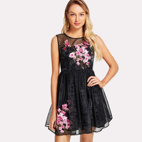 Black Embroidered Flower Applique Fit & Flared Organza Dress