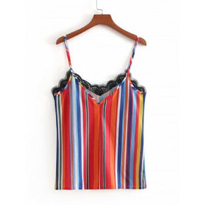 Multicolor Contrast Lace Striped Cami Top