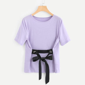 Purple Ribbon Tie Waist T-shirt