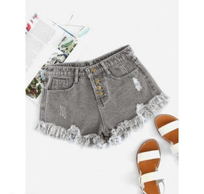 Grey Raw Hem Ripped Denim Shorts