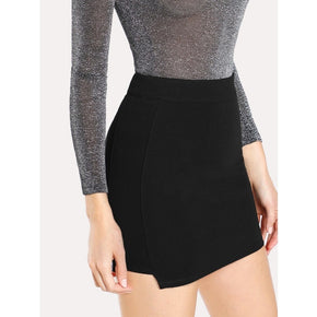 Black Solid Knit Bodycon Skirt