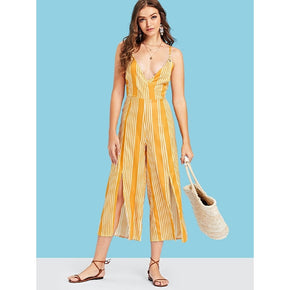 Yellow V Neckline Striped Split Jumpsuit