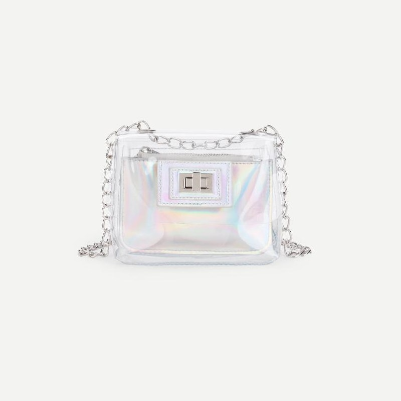 Clear Chain Bag With Iridescence Pouch