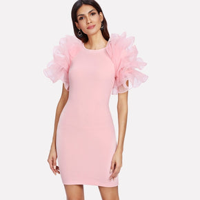 Pink Tiered Mesh Embellished Sleeve Form Fitting Dress