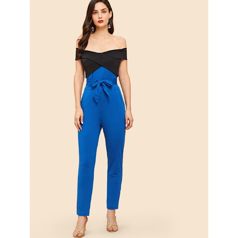 Blue High waist off shoulder cross front jumsuits online - madrushfashion.com