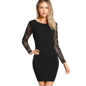 Black Floral Lace Insert Form Fitting Dress