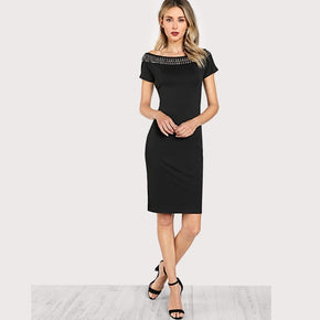 Black Studded Embellished Neck Form Fitting Dress