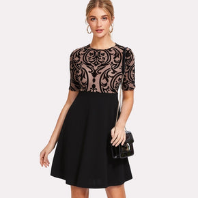 Black Flocked Vine Mesh Bodice Dress