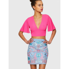 Hot Pink Flutter Sleeve Knot Overlap Back Crop Top