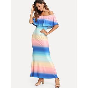 Multicolor Flounce Off Shoulder Ombre Dress